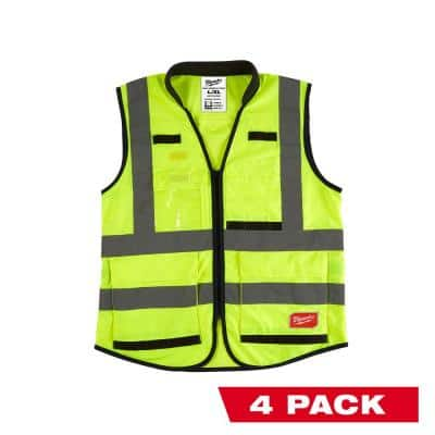 Performance Large/X-Large Yellow Class 2 High Visibility Safety Vest with 15 Pockets (4-Pack)