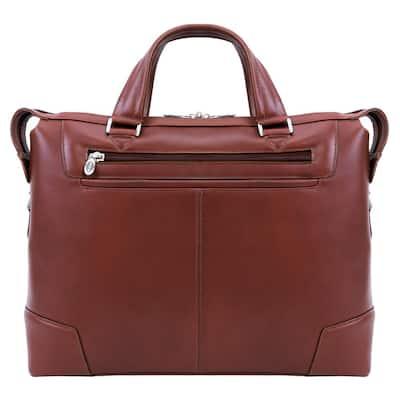 McKlein Arcadia 17 in. Brown Top Grain Cowhide Leather Slim Laptop Briefcase