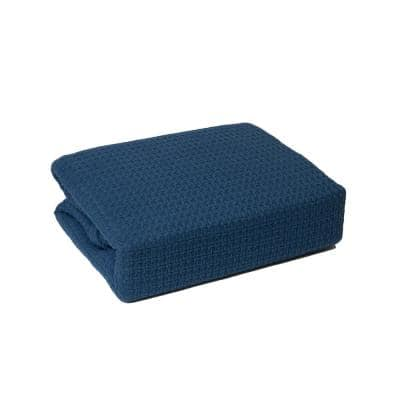Marquis Blue Cotton Twin Blanket
