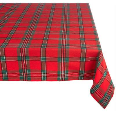 Christmas 60 in. x 120 in. Cardinal Red Plaid Cotton Tablecloth