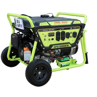 Green Power 10000/7500-Watt Gasoline Powered Electric Start Portable Generator w/420cc 15HP LCT Engine, Lithium Battery