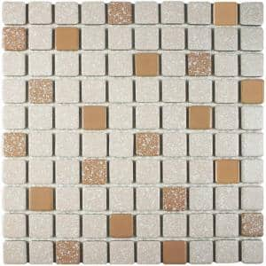 Crystalline Square Beige 12 in. x 12 in. Porcelain Mosaic Tile (9.79 sq. ft. / Case)