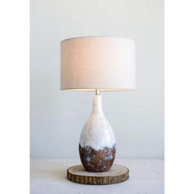28 in. Multi-Colored Ceramic Table Lamp with Linen Shade