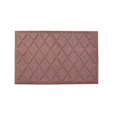 A1HC Diamond Light Brown 24 in. x 36 in. Eco-Poly Scraper Mats with Anti-Slip Fabric Finish and Tire Crumb Backing