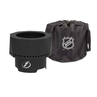 The Ridge NHL 15.7 in. x 12.5 in. Round Steel Wood Pellet Portable Fire Pit - Tampa Bay Lightning