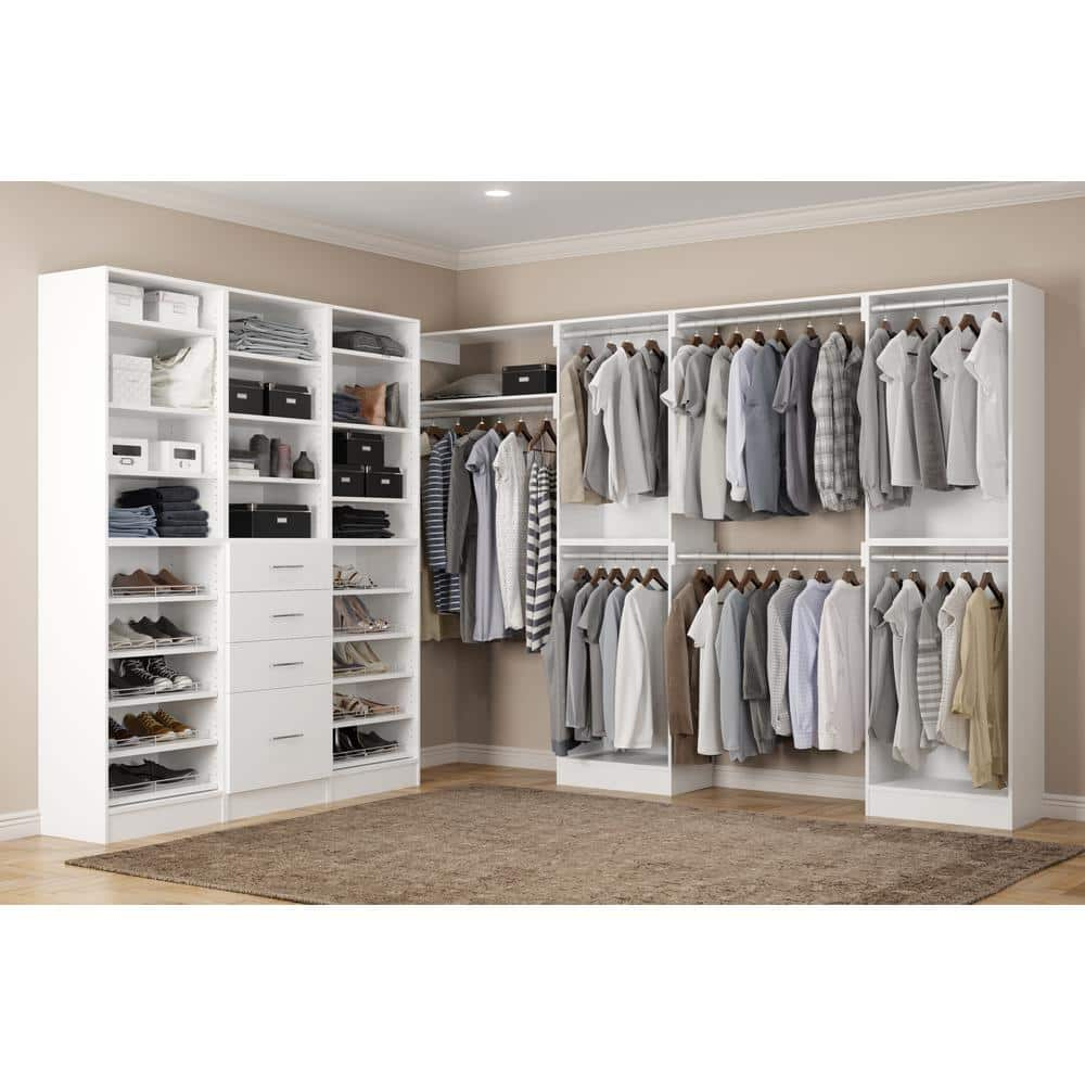 Home Decorators Collection Calabria Walk In 15 In D X 243 In W X 84 In H Bianco Wood Closet System En000111 Cbo The Home Depot