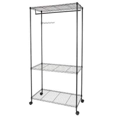 Black Metal Clothes Rack 17.72 in. W x 70.87 in. H