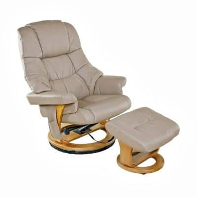 Beige 8-Motor Massage Recliner with Heat and Ottoman
