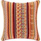 Skelira Saffron/Orange/Red Beaded/Fringe/Embroidered Polyester Fill 20 in. x 20 in. Decorative Pillow