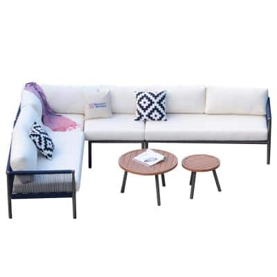 Cathelina 6-Piece Aluminum Rope Weave Outdoor Sofa Set with White Cushions and Coffee Tables