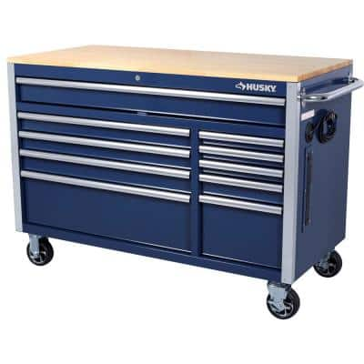 52 in. W x 24.5 in. D 10-Drawer Blue Mobile Workbench with Solid Wood Top