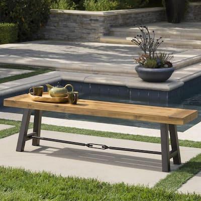63 in. Teak Brown Wood and Metal Outdoor Dining Bench
