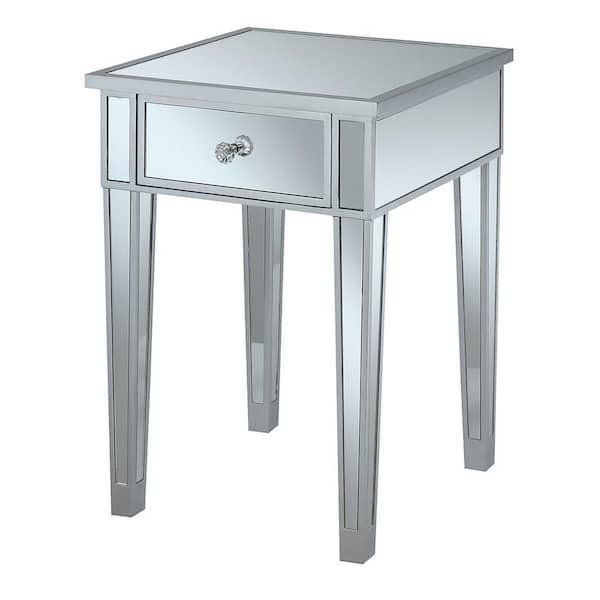 Convenience Concepts Gold Coast Silver, Silver Mirror End Table