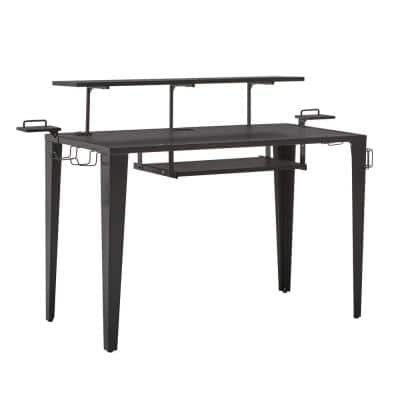 Gunmetal Metal Computer Desk With Usb Charging Port and Adjustable Shelf