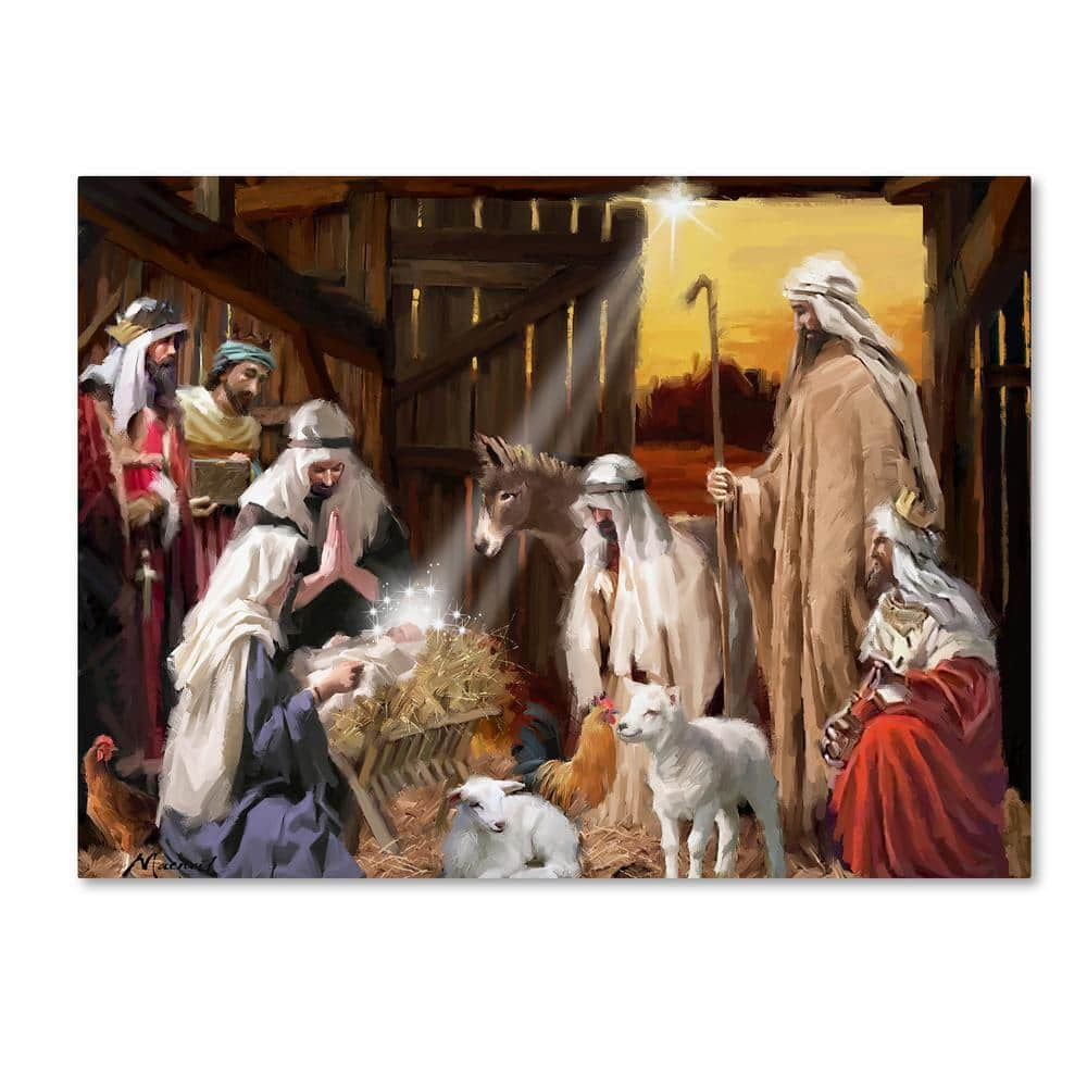 Trademark Fine Art 18 In X 24 In Nativity By The Macneil Studio Printed Canvas Wall Art Ali09772 C1824gg The Home Depot