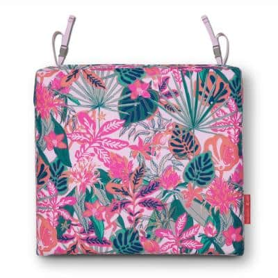 Vera Bradley 17 in. L x 17 in D x 3 in. Thick Patio Seat Cushion in Rain Forest Canopy Coral