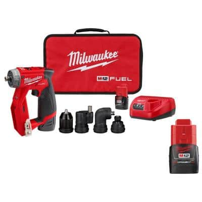 M12 FUEL 12-Volt Lithium-Ion Brushless Cordless 4-in-1 Interchangeable 3/8 in. Drill Driver Kit W/ 2.0 Ah Battery