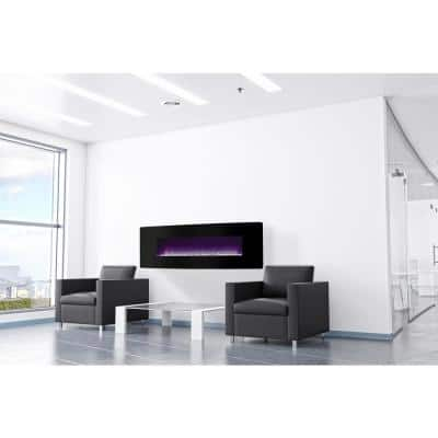 48 in. W Curved Front Wall Mount Electric Fireplace with Black Glass
