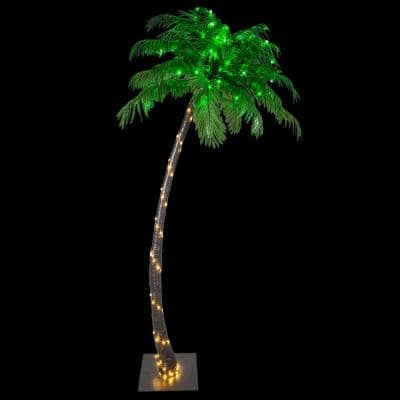 7 ft. Pre-Lit Curved Artificial Palm Tree with 160 LED Lights