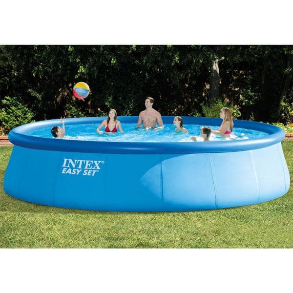 Intex Easy Set 18 Ft Round X 48 In Deep Inflatable Pool With 1 500 Gph Filter Pump 26175eh The Home Depot