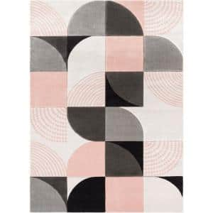 Good Vibes Margot Blush Pink Modern Geometric Chevron 5 ft. 3 in. x 7 ft. 3 in. Area Rug