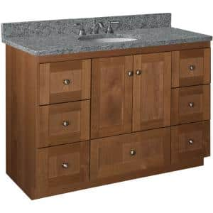 Shaker 48 in. W x 21 in. D x 34.5 in. H Simplicity Vanity Center Basin with Side Drawers in Medium Alder