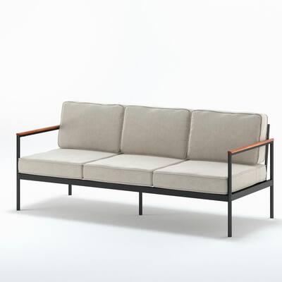 Savannah Black Aluminum and Acacia Wood Outdoor Sofa with Cushions and Waterproof Cover