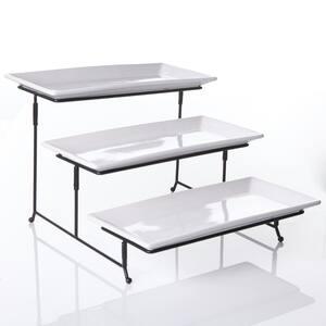 Gracious Dining 4-Piece White 3-Tier Fine Ceramic Cake Stand with Metal Rack