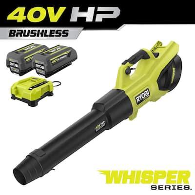40V HP Brushless Whisper Series 190 MPH 730 CFM Cordless Battery Jet Fan Leaf Blower with (2) 4.0 Ah Batteries & Charger