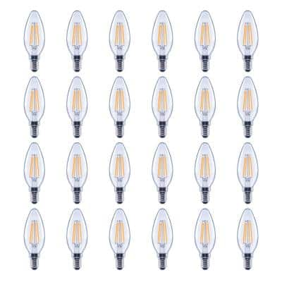60-Watt Equivalent B11 Candelabra Glass Vintage Decorative Edison Filament Dimmable LED Light Bulb Daylight (24-Pack)