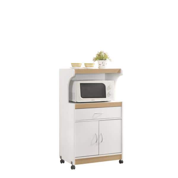 Hodedah White Microwave Cart With