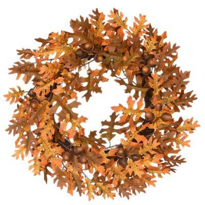 24 in. Artificial Harvest Wreath with Oak Leaves and Acorns
