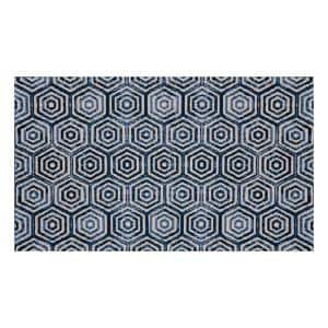 In-Home Washable/Non-Slip Hex Blue 2 ft. 3 in. x 3 ft. 11 in. Area Rug & Mat