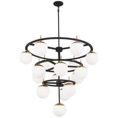 Alluria 16-Light Weathered Black with Autumn Gold Chandelier with Etched Opal Glass Shade