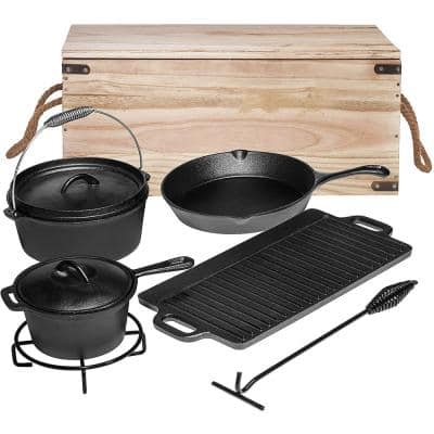 7-Piece Heavy Duty Cast Iron Camping Cooking Set with Box Cookware Set