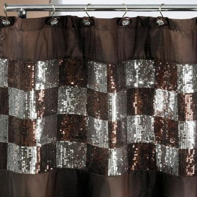 Elite 72 in. Copper and Silver Polyester 13-Piece Shower Curtain Set