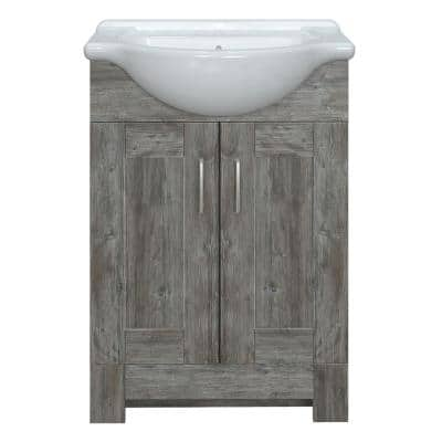 Boulder 24 in. W x 17-1/8 in. D Vanity in Driftwood Gray with Porcelain Vanity Top in White with White Basin