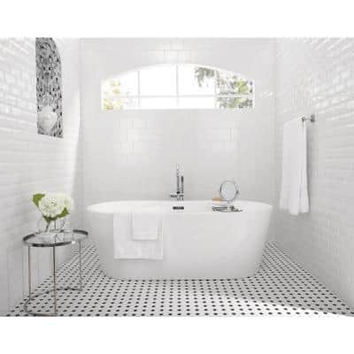 Octagon and Dot Matte White with Black Dot 12 in. x 12 in. x 6 mm Ceramic Mosaic Floor and Wall Tile (1 sq. ft./ Each)