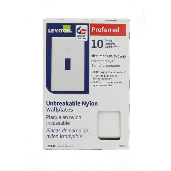 Leviton 1 Gang White Midway Toggle Nylon Wall Plate 10 Pack M52 00pj1 0wm The Home Depot