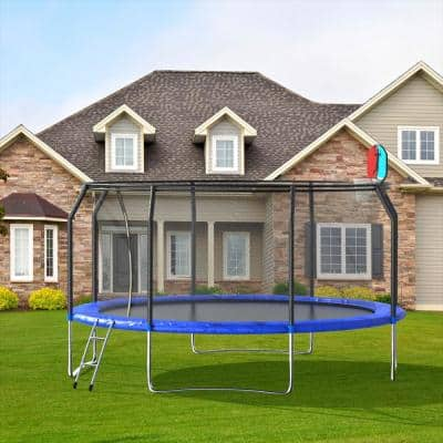 14 ft. Trampoline with Basketball Hoop and Enclosure Ladder Backboard Net Garden Outdoor