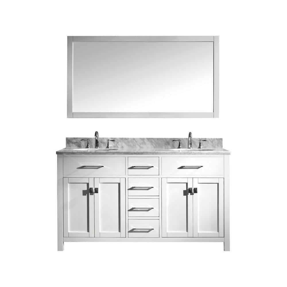 Virtu Usa Caroline 60 In W Bath Vanity In White With Marble Vanity Top In White With Round Basin And Mirror Md 2060 Wmro Wh The Home Depot