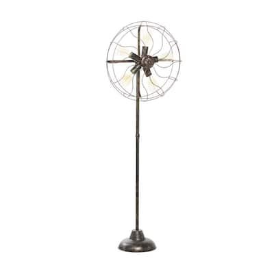 55 in. Brown Industrial Metal Floor Lamp