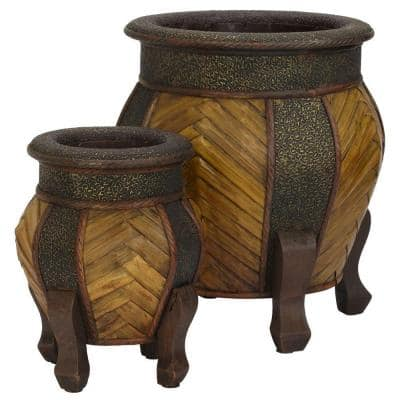 15 in. H Brown Decorative Rounded Wood Planters (Set of 2)