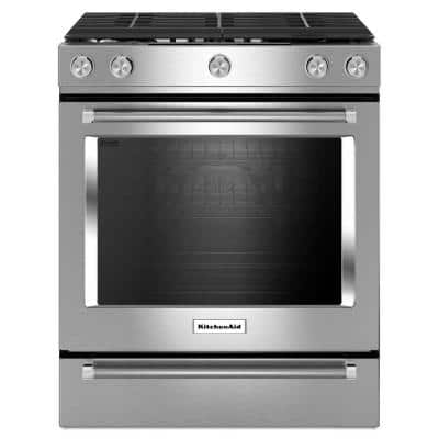 5.8 cu. ft. Slide-In Gas Range with Self-Cleaning Convection Oven in Stainless Steel