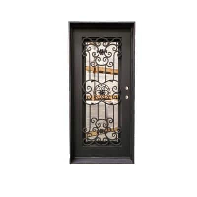 38 in. x 81 in. 1-Panel Left-Hand/Inswing Operable Straight Frosted Glass Dark Bronze Finished Iron Prehung Front Door