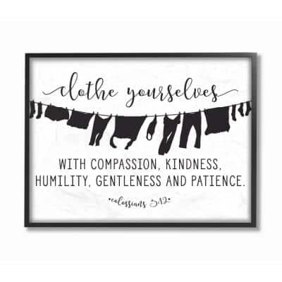 """16 in. x 20 in. """"Clothe Yourselves With Compassion Clothesline"""" by Lettered and Lined Wood Framed Wall Art"""