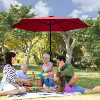 7.5 ft. Market Patio Umbrella Table with Push Button Tilt and Crank in Red