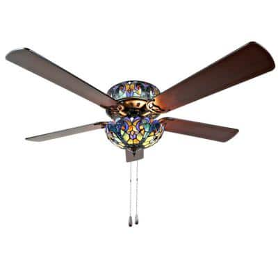 Halston 52 in. Blue Tiffany Stained Glass LED Ceiling Fan With Light