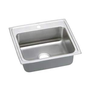 Lustertone Drop-In Stainless Steel 25 in. 1-Hole Single Bowl ADA Compliant Kitchen Sink with 6 in. Bowl
