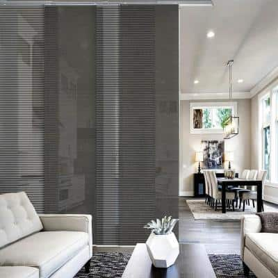 Moon Light Filtering Adjustable Sliding Window Panel Track with 23 in. Slates Upto 86 in. W x 96 in. L